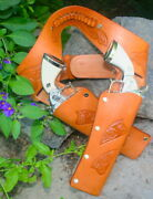 Tan Holster Set For Kids Full Leather Holster With Two 2 Cap Guns 70302