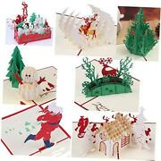 3d Greeting Christmas Cards Papercraft 7 Pack Holiday Birthday Pop Up Cards Red