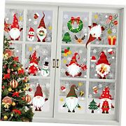 Christmas Window Clings 9 Sheets Xmas Gnomes Window Stickers Removable Self