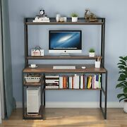 Wrting Working Computer Desk With Bookshelf And Cpu Stand Study Table With Hutch