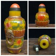Chinese Peking Carved Glass Snuff Bottle Yellow Flower Statue Painted Gilding