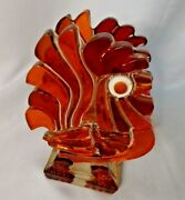 Mcm Mid-century Chunky Lucite Rooster Chicken Napkin Letter Holder Country