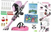 Kids Fishing Pole With Spincast Reel Telescopic Fishing Rod 150cm 59.05in Pink