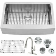 33'' Stainless Steel Double Bowl Farmhouse Apron Mount Kitchen Sink With Faucet