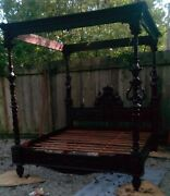 Amazing Antique King Size Mahogany Wood Carved Farm House Canopy Bed Frame.