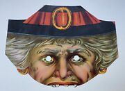 Great Ca1900 Lithograph Halloween Witch Mask Excellent Antique Item