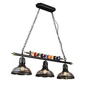 Vintage Metal Billiard Pendant Lamp Light Fixture With Glass Shades Table Game