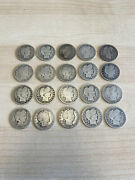Lot Of 20 Us Silver Barber Quarters - 1900and039s All Different Dates