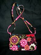 Vera Bradley Mod Floral Pink Brown Multi Color Quilted Crossbody Bag Retired