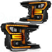 Fits Ford F150 2018-up Led Replacement Headlights Black Housing Headlamps Pair