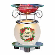 Happy Holidays Wreath Frosted Glass Base Wax Warmer