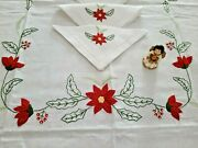 Tablecloth X12 In Pure Linen With Embroidery And Handmade Christmas 188cmx280 Cm