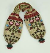 Antique Mid 19th Century Victorian Crocheted Beaded Miserand039s Purse Brass Rings