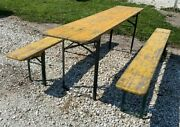 Wood Vintage German Beer Garden Table And Benches Oktoberfest Picnic Table C69