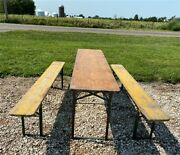 Wood Vintage German Beer Garden Table And Benches Oktoberfest Picnic Table C77
