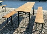 Wood Vintage German Beer Garden Table And Benches Oktoberfest Picnic Table D9