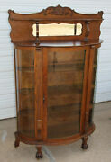Antique Quartersawn Oak Curved Glass China Cabinet Bevel Canopy Mirror Claw Feet