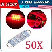 50pcs Red 44mm Festoon Led Lights Lamps 12-smd-2835 Car Interior Working Bulbs