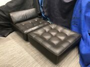 Roche Bobois Flight Jacket Brown Leather Chair And Ottoman