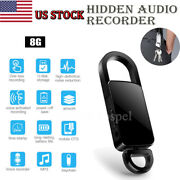 Mini Hd Audio Recorder Voice Keychain Activated Listening Mp3 Player 8gb Black