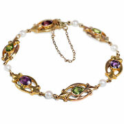 Antique Bracelet One Suffragette With Amethyst Peridot And Pearls Gold Um 1910