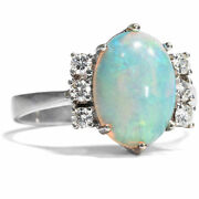 Vintage 585er White Gold Ring With Opal And Diamonds / Opal Gold Diamond Opal