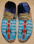 Vintage Sioux Beaded Men's Moccasins Sinew Sewn Ca. 1880-1890's Wonderful Colors