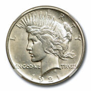 1921 1 Peace Dollar Ngc Ms 62 Uncirculated High Relief Key Date White Cert2007