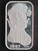 1997 Silver Towne Garfield In Christmas Stocking Silver Art Bar St-229v P1577