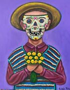 Big Mexican Day Of The Dead Mask Boy With Flowers Acrylic Painting German Rubio
