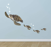 Create-a-mural Sea Turtle Family Wall Decals Under The Sea Decor Wall Sticker
