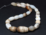 Antique Idar Oberstein Faceted Banded Agate Beads Strand. 21''. 1800s. Germany