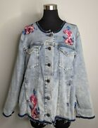 Lane Bryant Womenand039s Plus 24 Embroidered Distressed Roached Denim Jean Jacket