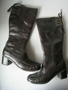 Hush Puppies Womens Leather Boots Size 9.5m/ 41n Eu Brown Side Zipper Vintage