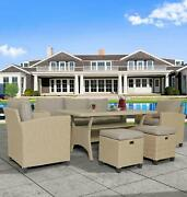 7 Seats Patio Rattan Sofa Wicker Sectional Couch Furniture Dining Table Storage