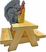 Squirrel Picnic Table Feeder - Large Squirrel Feeders For Outside Corn Cob Ho...