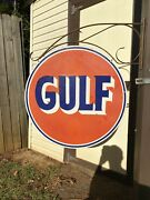 Large Vintage Gulf Double Sided With Bracket 30and039 Porcelain Sign