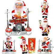 Christmas Electric Playing Music Band Xmas Santa Claus Doll Drummer Toy Decors