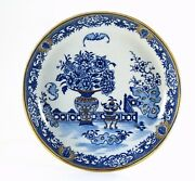 =antique 18th C Dr. Wall Worcester Plate Chinoiserie Bandw And Gold Rare Bat Pattern