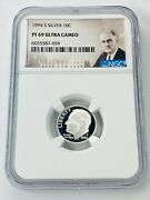 1994 S Roosevelt Dime 10c Ngc Pf 69 Ultra Cameo Silver Proof Coin San Francisco