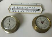 Airguide Chicago Brass Ship Clock/barometer With Porcelain Thermometer W/ Mount