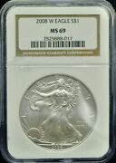 2008-w American Silver Eagle Ngc Ms 69h501
