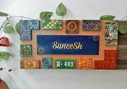 New Nameplate Address Plaque With Art Design And Wooden Alphabets And Clay Work