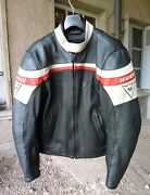 Dainese Classic Leather Jacket Black White Red 50 Dainese