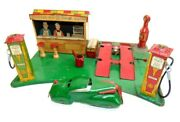 Vintage Marx Tin Roadside Rest Stop Gas Station Toy W/car-for Display Or Restore