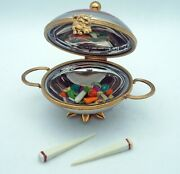 New French Limoges Trinket Box Silver Chinese Wok With Vegetables And Chopsticks