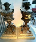 Pair Of Large Heavy Bronze Green Marble Hinks Baccarat Font Oil Lamps