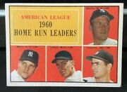 1961 Topps Al Home Run Leaders 44 Mickey Mantle Roger Maris Ex Well-centered
