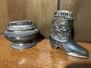 Lot Of 2 Vintage Table Lighter's - Ronson And Nas Co. - Cowboy Boot