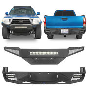 Texture Black Steel Front+rear Bumper Combo W/skid Plate Fit 05-15 Toyota Tacoma